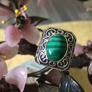Vintage 925 malachite ring